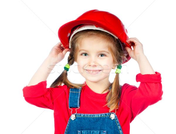 девочку строительство шлема белый бизнеса счастливым Сток-фото © GekaSkr