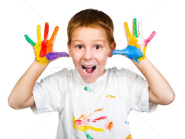 улыбка счастливым ребенка краской искусства Kid Сток-фото © GekaSkr