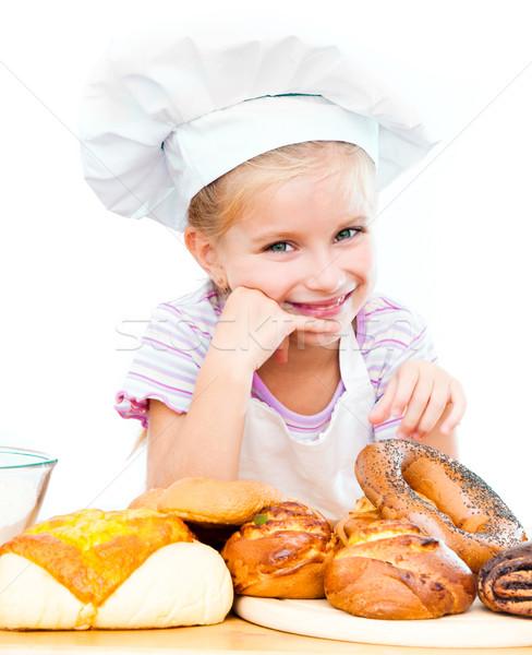 Mały piekarz biały dziewczyna dziecko chleba Zdjęcia stock © GekaSkr