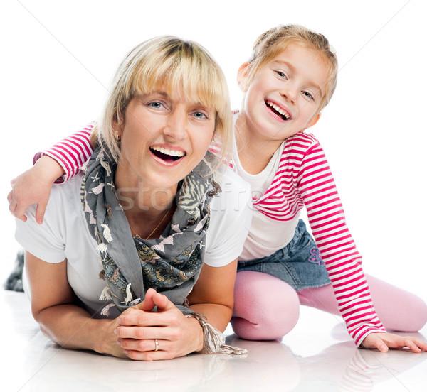 Matka córka mały uśmiechnięty biały twarz Zdjęcia stock © GekaSkr