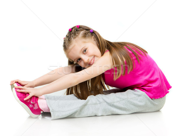 Lány tornász fiatal lány fehér mosoly boldog Stock fotó © GekaSkr