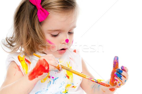 Cute petite fille peinture brosse papier fille Photo stock © GekaSkr