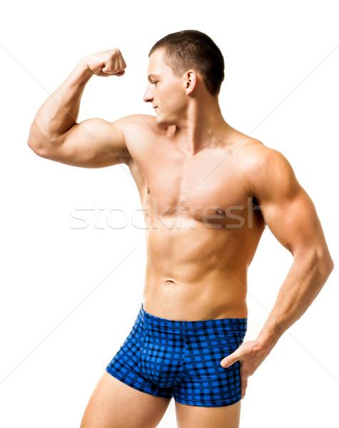 Bonito muscular homem isolado branco corpo Foto stock © GekaSkr