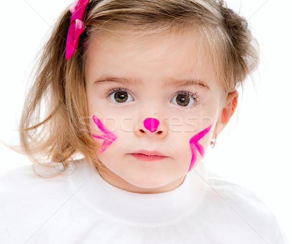 девушки лице краской Cute девочку Сток-фото © GekaSkr