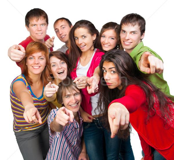 Szczęśliwy młodych grupy ludzi grupy przypadkowy szczęśliwych ludzi Zdjęcia stock © GekaSkr