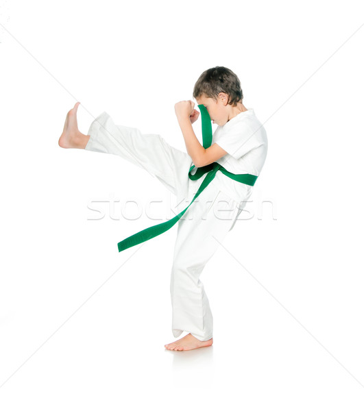 Fiatal srác kimonó fiú zöld öv férfi Stock fotó © GekaSkr