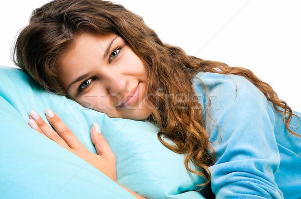 若い女性 ベッド 肖像 春 少女 女性 ストックフォト © GekaSkr