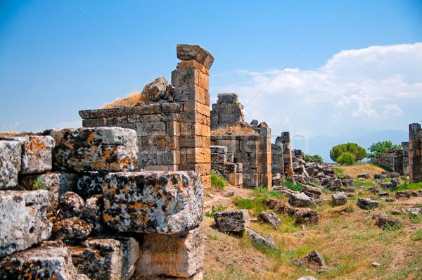 Eski ören Türkiye yol Bina gün batımı Stok fotoğraf © GekaSkr