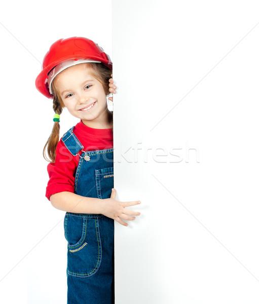 女の子 ホワイトボード 笑みを浮かべて 建設 ヘルメット 少女 ストックフォト © GekaSkr