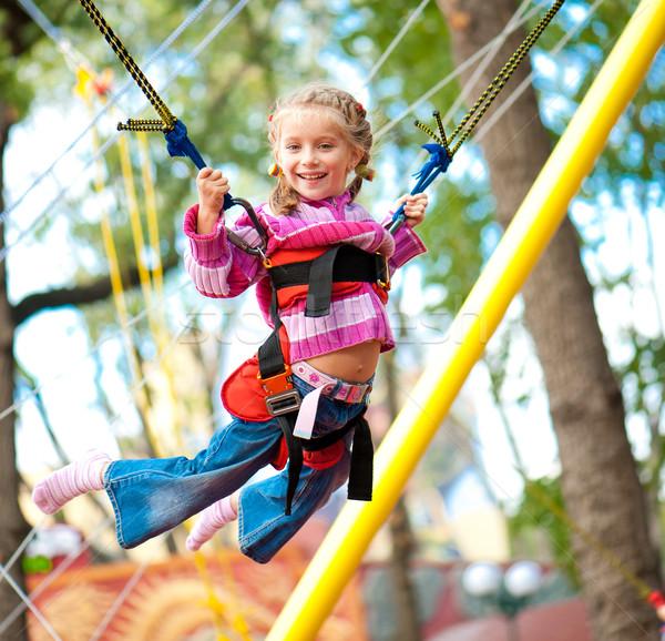 Springen meisje meisje trampoline rubber kind Stockfoto © GekaSkr