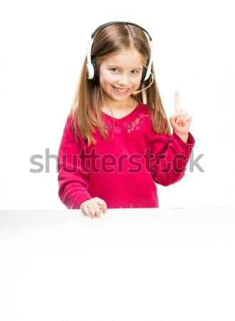Retrato menina fone little girl branco bandeira Foto stock © GekaSkr