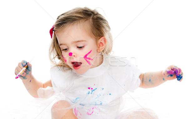 Cute dziewczynka malarstwo szczotki biały papieru Zdjęcia stock © GekaSkr