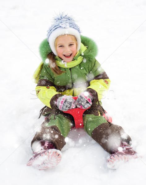 Kız mutlu çocuk kızak kış gülümseme Stok fotoğraf © GekaSkr