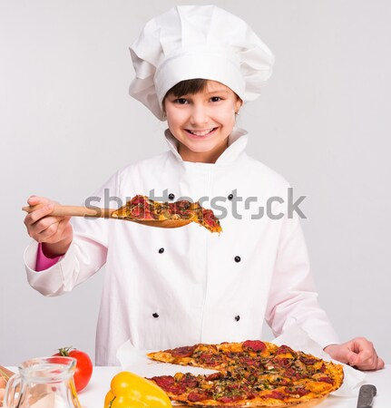 little girl preparing a pizza Stock photo © GekaSkr