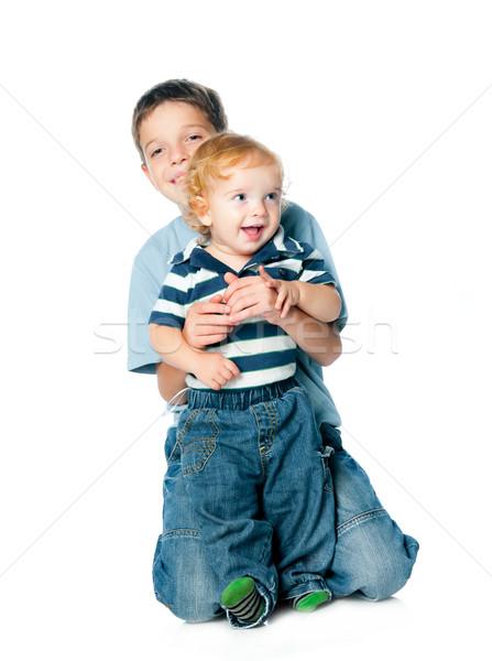Irmãos retrato dois crianças branco Foto stock © GekaSkr