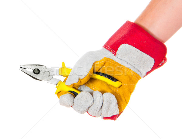 gloved hand with cutters Stock photo © GekaSkr