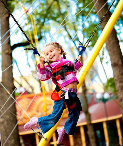 Saltando menina little girl trampolim borracha criança Foto stock © GekaSkr