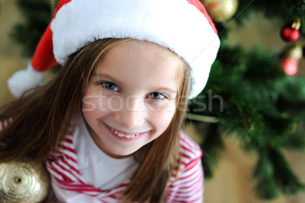 little girl with santa hat Stock photo © GekaSkr