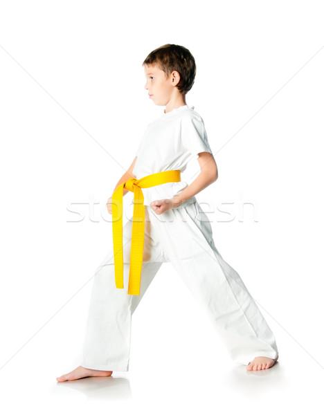 Quimono amarelo cinto branco homem Foto stock © GekaSkr