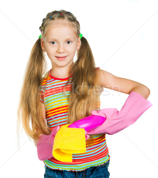 Little girl with detergents Stock photo © GekaSkr