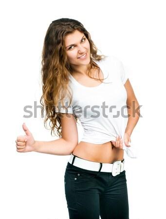 Stockfoto: Mooie · meisje · tshirt · glimlachend · mooie · vrouwen