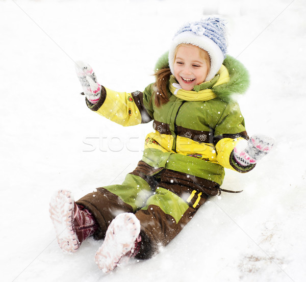 Fille glace slide souriant petite fille sourire Photo stock © GekaSkr