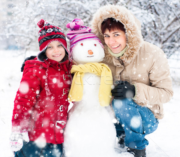 Happy family with snowman Stock photo © GekaSkr