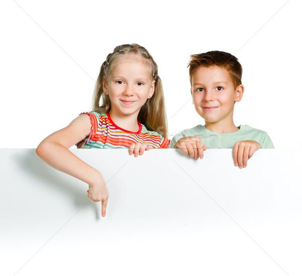 Papír lány mosoly boldog gyermek űr Stock fotó © GekaSkr