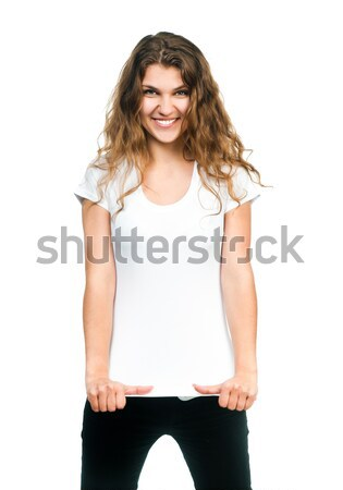 Pretty girl with blank t-shirt Stock photo © GekaSkr