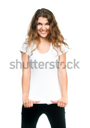 Dość dziewczyna tshirt młodych piękna kobiet Zdjęcia stock © GekaSkr
