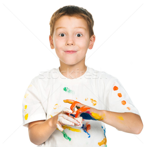 boy with  paints Stock photo © GekaSkr