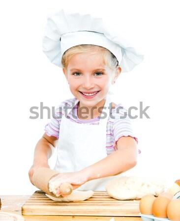 Jovem cozinhar little girl pino do rolo mãe pão Foto stock © GekaSkr