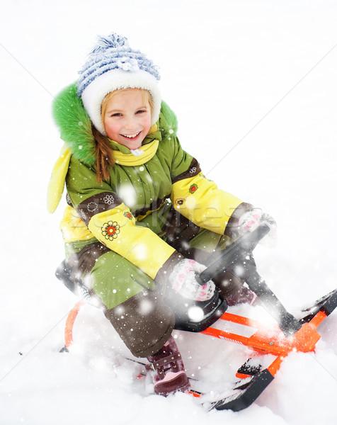 girl sledding Stock photo © GekaSkr