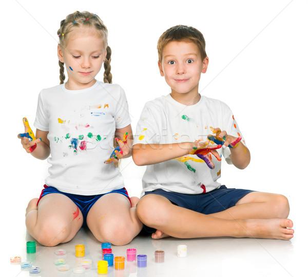 девушки мальчика Живопись счастливым дети окрашенный Сток-фото © GekaSkr