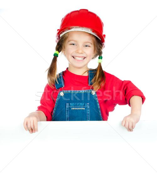 Little girl sorridente menina construção capacete Foto stock © GekaSkr