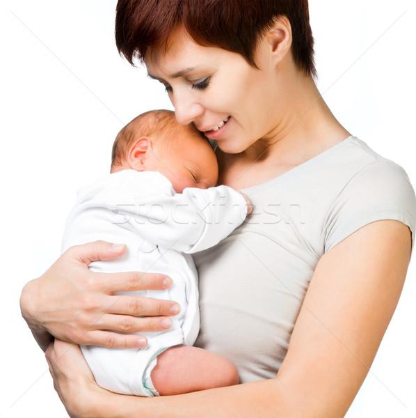 Bebê mãe isolado branco menina cara Foto stock © GekaSkr