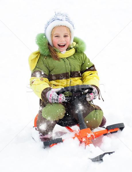 девушки счастливым улыбка ребенка снега здоровья Сток-фото © GekaSkr