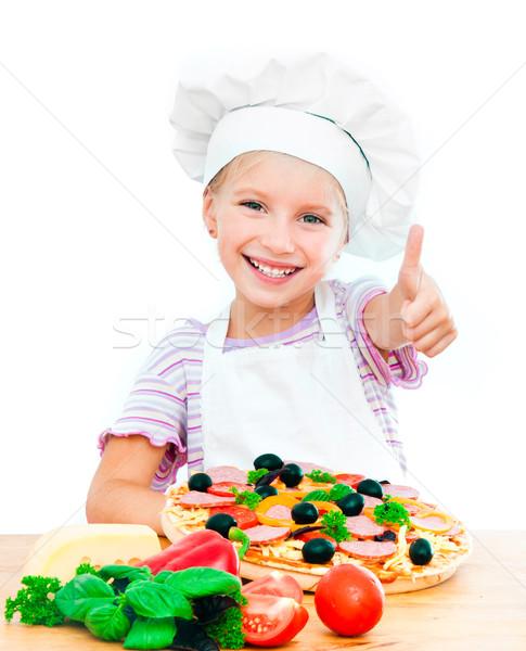 Little girl pizza jovem branco menina Foto stock © GekaSkr