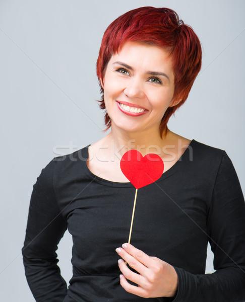 少女 紙 中心 美しい 若い女性 赤 ストックフォト © GekaSkr