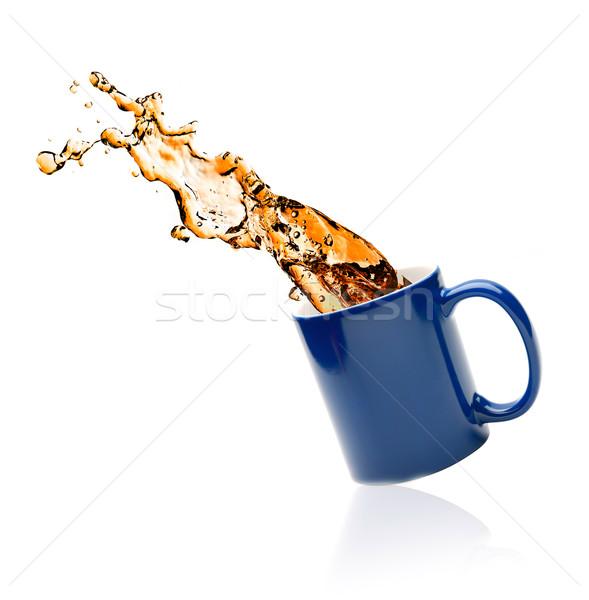 Kubek herbaty biały tle Kafejka Zdjęcia stock © GekaSkr
