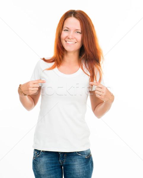 Menina branco tshirt sorridente isolado moda Foto stock © GekaSkr