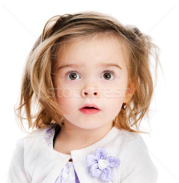 Piękna dziewczynka portret biały twarz włosy Zdjęcia stock © GekaSkr