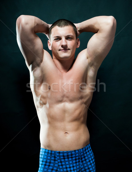 мышечный человека сильный спортивный черный глядя Сток-фото © GekaSkr