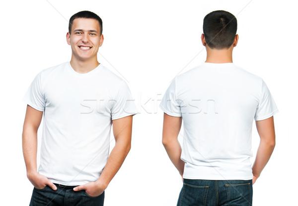 подростку белый рубашку футболки молодым человеком изолированный Сток-фото © GekaSkr
