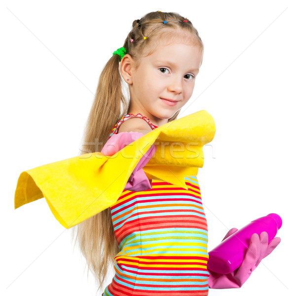 Cute little girl with detergents Stock photo © GekaSkr