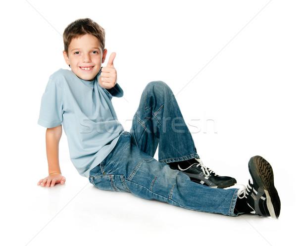 Sorridente menino branco sorrir cara Foto stock © GekaSkr