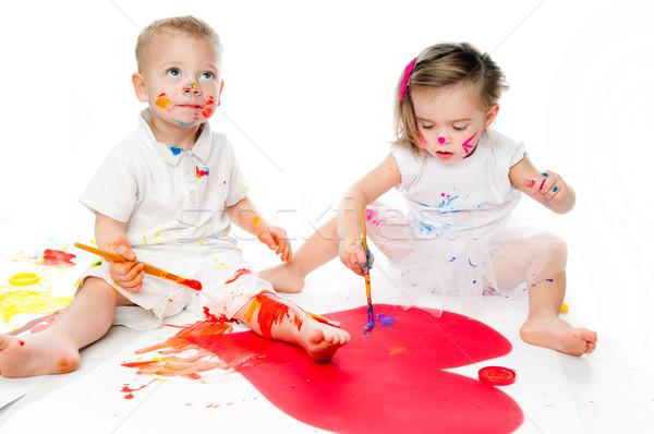 Crianças pintar pintura isolado família cara Foto stock © GekaSkr