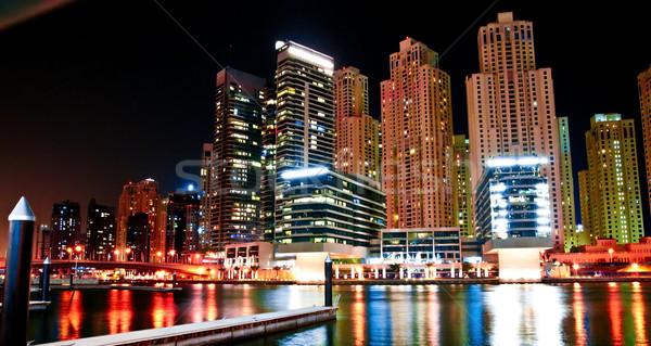 Noc krajobraz metropolia Dubai biuro budynku Zdjęcia stock © GekaSkr