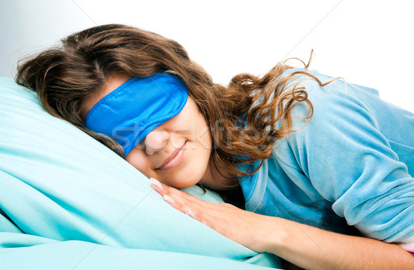 Sleeping Young Woman In Sleep Eye Mask Stock photo © GekaSkr