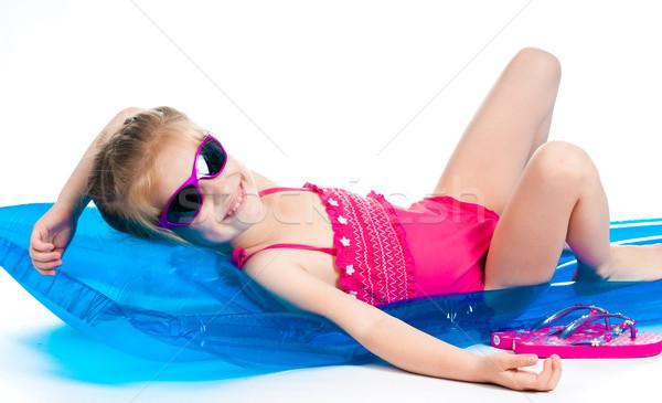 かわいい 女の子 インフレータブル マットレス スイミング スーツ ストックフォト © GekaSkr